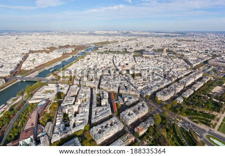 Shadow of the Eiffel Tower on a panorama of Paris - stock photo