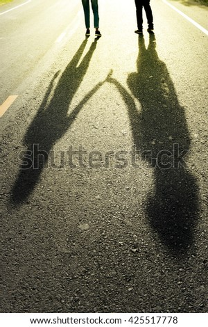 Shadow of two lovers
