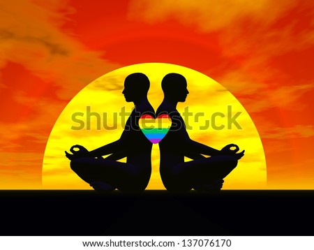 Shadow of two men back to back in lotus meditating posture by sunset, one rainbow color heart upon them - stock photo