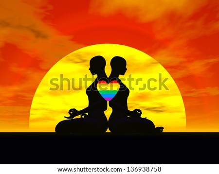 Shadow of two women back to back in lotus meditating posture by sunset, one rainbow color heart upon them - stock photo