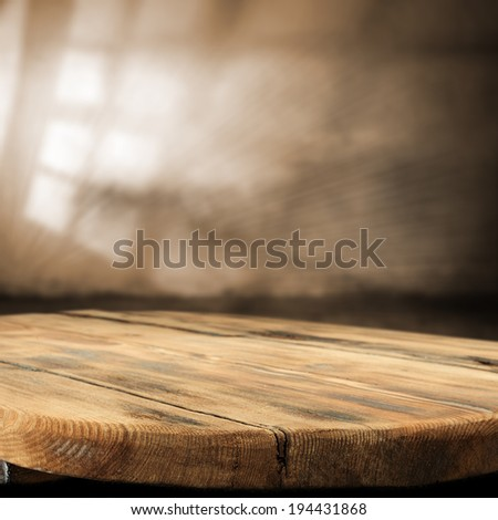 shadow of window on wall and desk of wood  - stock photo