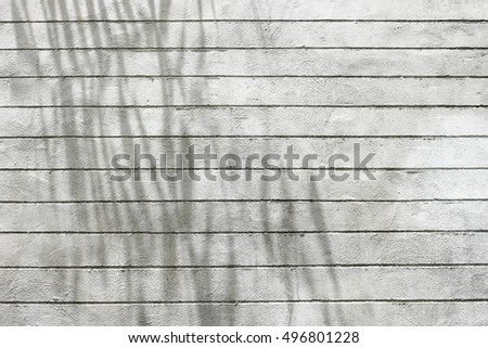 Shadow tree on cement wall with parallel horizontal lines texture background.