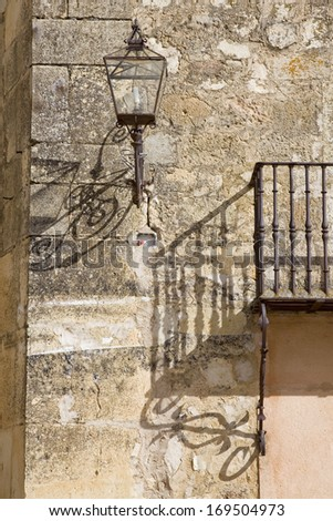 shadow wall  in Pedraza, Segovia (Spain). Typical rural town