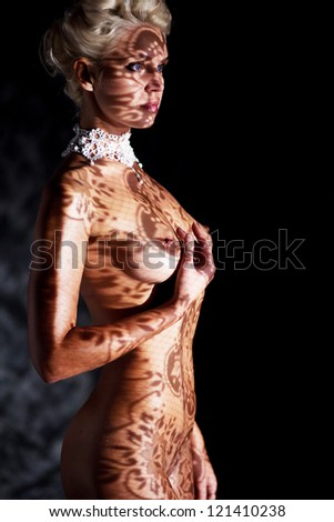 Shadows Art Pattern on Sexy Female Body - Tracery Shade Lines - stock photo