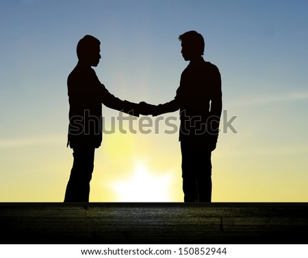Shadows of business people shaking hands - stock photo