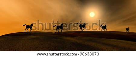 Shadows of running horses by sunset - stock photo