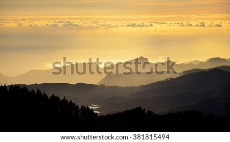 Shadows on the mountains at sunset, Gran canaria, Canary islands - stock photo