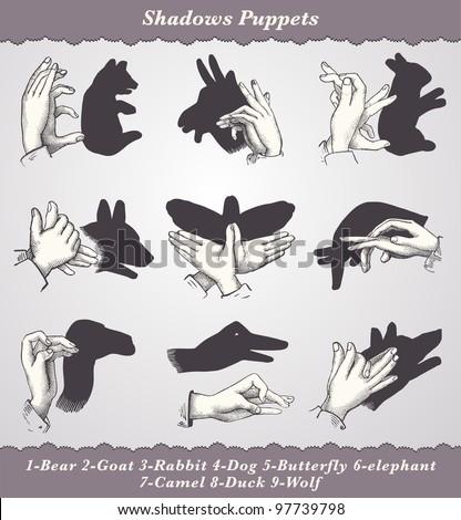 """Shadows Puppets - vintage engraved illustration - """"Dictionnaire encyclopedique universel illustration"""" By Jules Trousset - 1891 Paris - stock photo"""