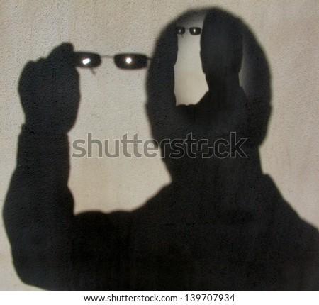 shadowy portrait - stock photo