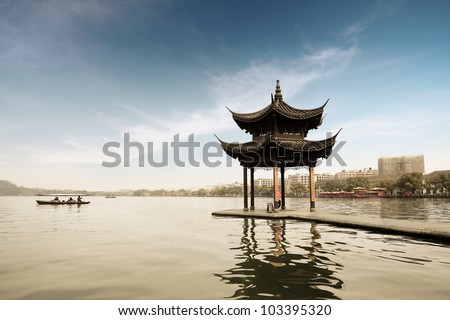 shady bower on the west lake in hangzhou,China - stock photo