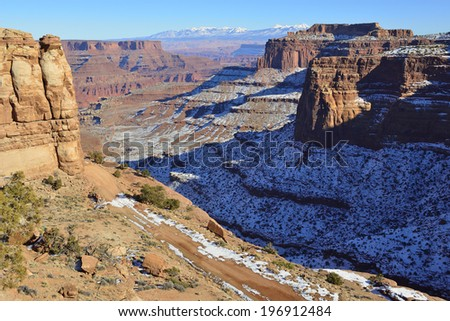 Shafer Canyon in Canyonlands National Park, Utah in winter - stock photo