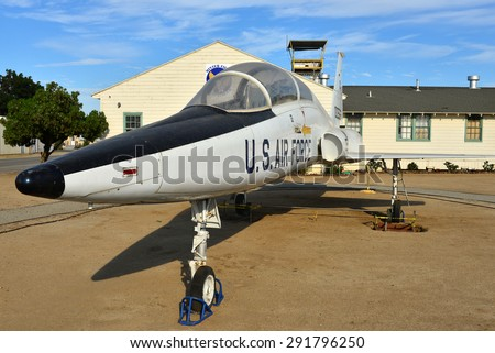 SHAFTER, CA - JUNE 27, 2015: The Minter Field Air Museum has recently acquired this Northrup T-38 Talon, a supersonic jet trainer. The first aircraft of this type began service in 1961. - stock photo