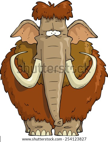 Shaggy Mammoth on a white background raster version