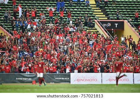 Shah alam,Malaysia,15aug2017:Unidentified supporters during SEAGames 28th between Thailand against Indonesia at Shah alam stadium,Malaysia