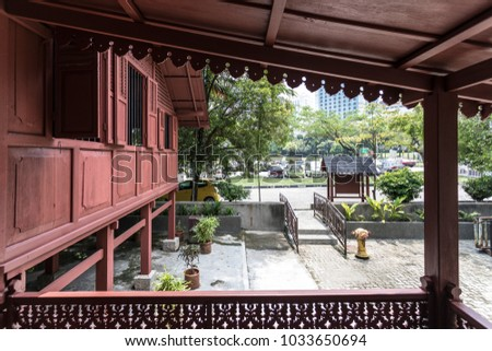 Shah Alam, Malaysia - Feb 22, 2018 : Outside view of a traditional malay house of Bugis ethnicity.
