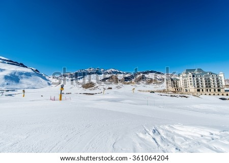 Shahdag - FEBRUARY 27, 2015: Tourist Hotels  on February 27 in A - stock photo