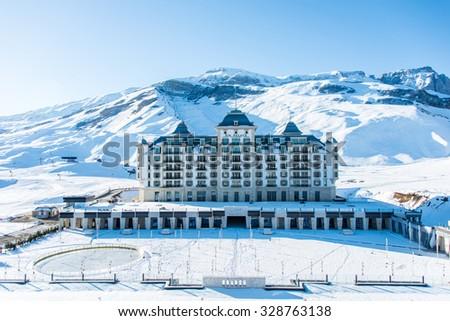 Shahdag - FEBRUARY 27, 2015: Tourist Hotels  on February 27 in Azerbaijan, Shahdag. Shahdag has become a popular tourist destination for skiing in Azerbaijan. - stock photo