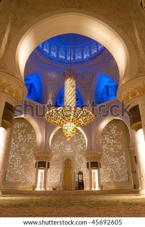 Shaikh zayed mosque in Abu Dhabi, UAE - Interior - stock photo