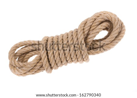 Shake twisted ropes for different jobs. Close-up on a white background.