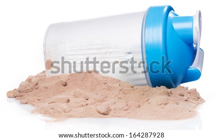 Shaker and protein powder on white background - stock photo