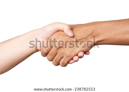 shaking hand isolate on white clipping path