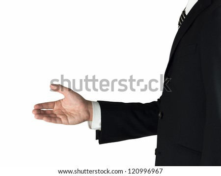 Shaking hands a business man with an open hand isolated on white background