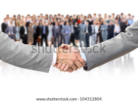 shaking hands and business team - stock photo