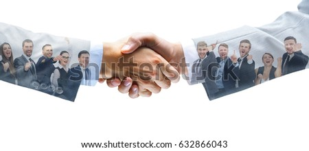 shaking hands and business team