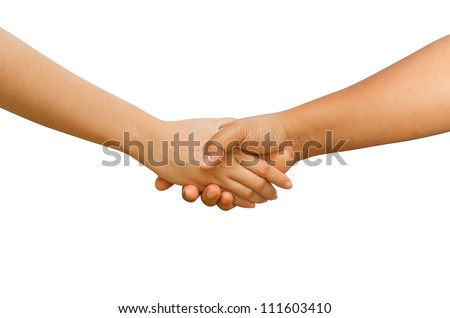 Shaking hands between man and woman  isolated on white background - stock photo