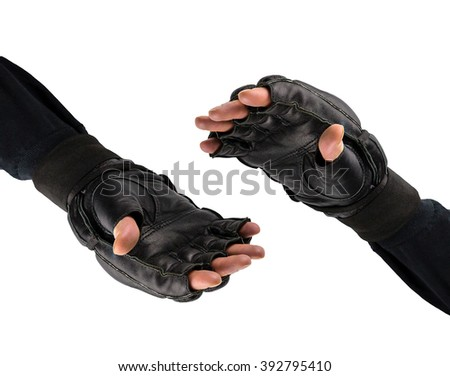 shaking hands in gloves for martial arts. Battle logo. fighter's hand in gloves . - stock photo
