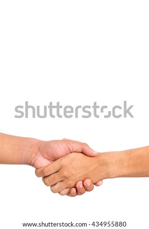 shaking hands isolated - stock photo