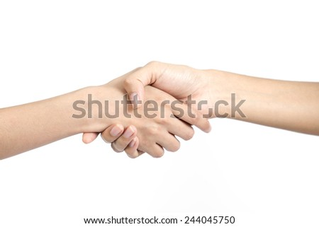 Shaking hands, isolated on white