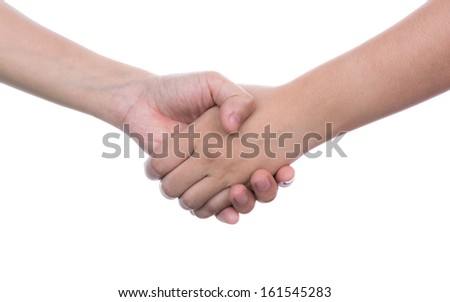 Shaking hands of two female people isolated on white background