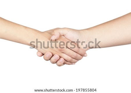 Shaking hands of two male people, isolated on white - stock photo