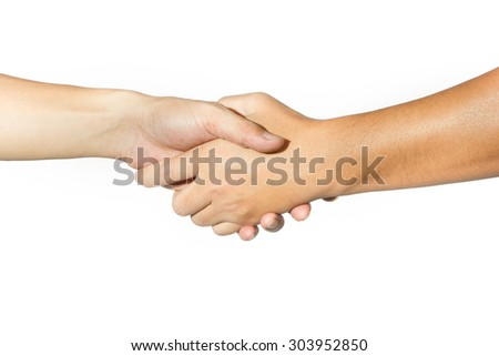 Shaking hands of two people on white background - stock photo