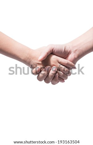 Shaking hands of two peoples, isolated on white