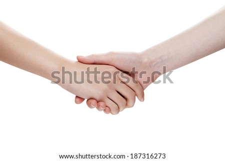 Shaking hands of two woman people, isolated on white background.