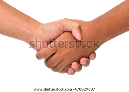Shaking hands on a white background