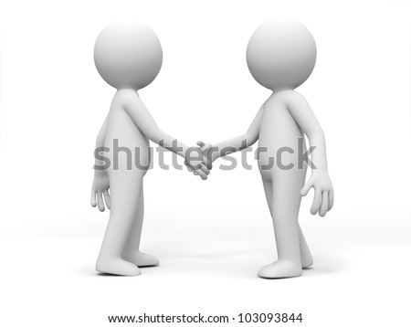 shaking hands/Two 3d people are shaking hands - stock photo