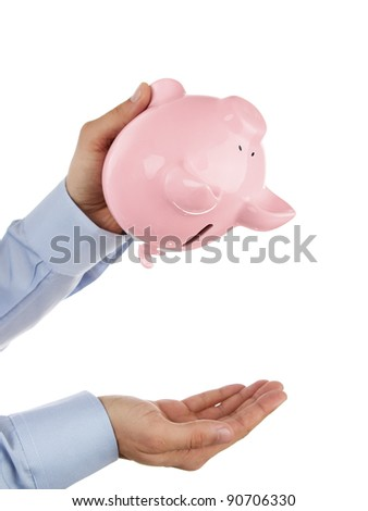 Shaking out empty piggy bank