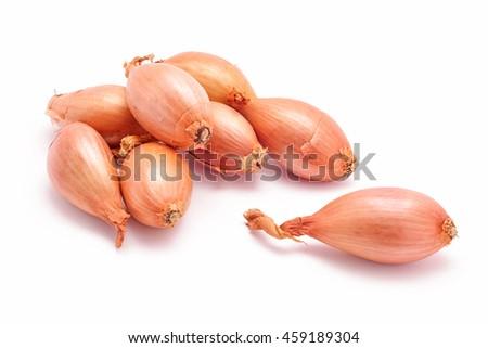 shallot onions isolated on white - stock photo