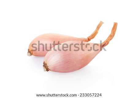 Shallot onions isolated on white, clipping path included - stock photo