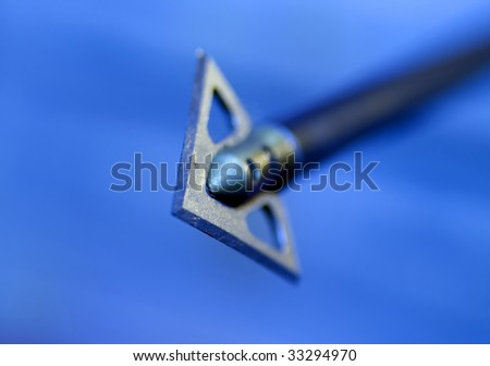 Shallow depth of field image of an arrow flying in the direction of the viewer.
