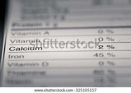 Shallow depth of Field image of Nutrition Facts Calcium Information we can find on a grocery Store Product.