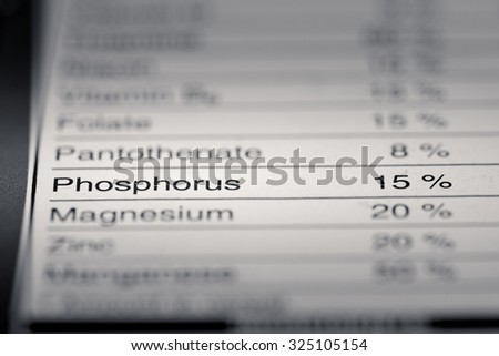 Shallow depth of Field image of Nutrition Facts Phosphorus Information we can find on a grocery Store Product.