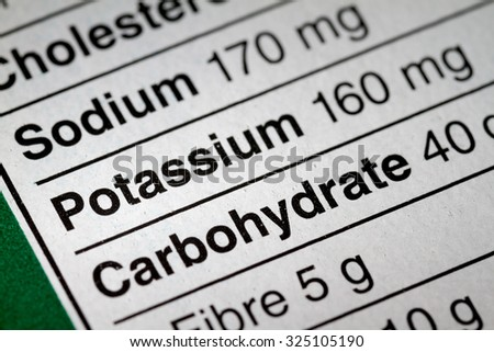 Shallow depth of Field image of Nutrition Facts Potassium Information we can find on a grocery Store Product.