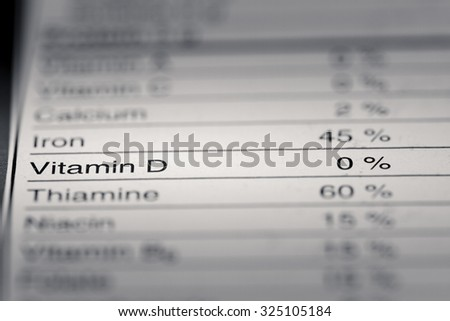 Shallow depth of Field image of Nutrition Facts Vitamin D Information we can find on a grocery Store Product.