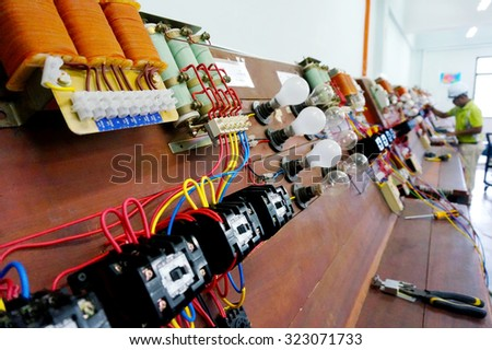 shallow depth of field of electrical control panel