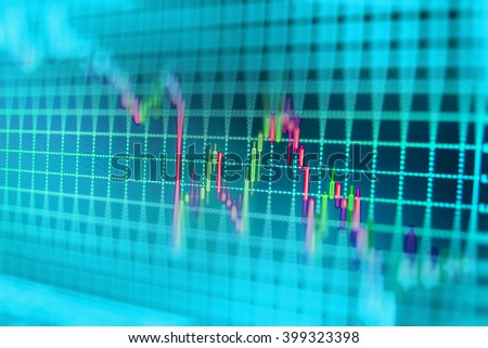 Shallow DOF. Currency trading theme. Blue screen of finance data. Price chart bars. Forex market charts on computer display. World economics graph. Abstract financial background trade colorful.   - stock photo