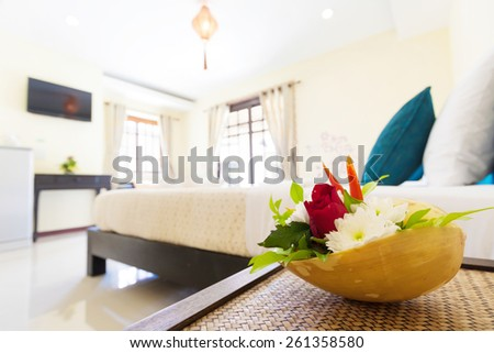 Shallow focus on decorating flowers at Banana Garden Beach, Koh lanta, Krabi, Thailand. - stock photo